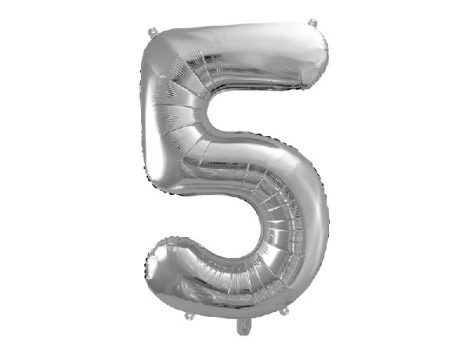 """óriás szám fólia léggömb """"5"""", ezüst"""