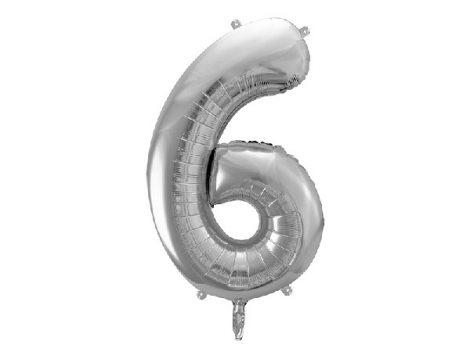 """óriás szám fólia léggömb """"6"""", ezüst"""