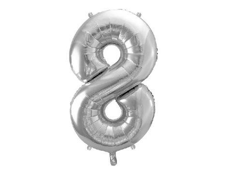 """óriás szám fólia léggömb """"8"""", ezüst"""