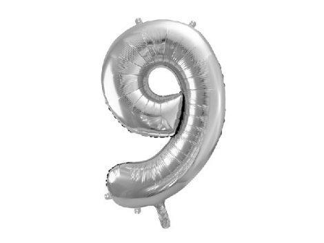 """óriás szám fólia léggömb """"9"""", ezüst"""