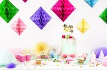 gyémánt papír lampion 20 cm, pink-006