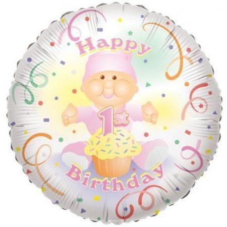 Happy 1. Birthday !fólia lufi (45 cm) rózsaszín-17650
