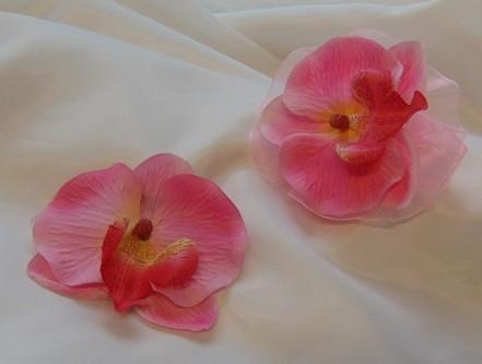 rózsaszín orchidea szett ( csuklódísz + kitűző)