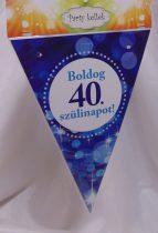 Boldog 40. születésnapot zászlógirland, kék (8 db zászló+4 m szalag)
