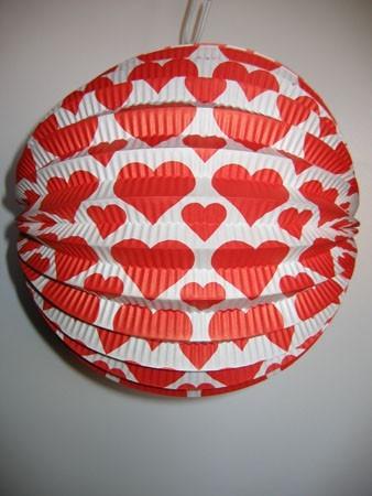 Lampion 24 cm-s, szív mintával - 14602