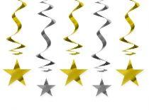 függődísz arany és ezüst csillagokkal , 5 részes (kb. 60 cm)