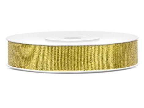 Glitteres, arany,1 cm-s textil szalag (25 m)-TSB10-019