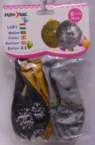 Boldog szülinapot ! lufi, 30 cm-s (6 db) arany,fekete,ezüst