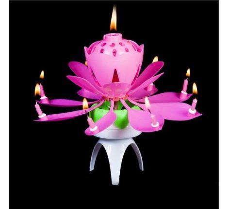 zenélő, forgó virág gyertya ( piros, kék, lila vagy rózsaszín színben)