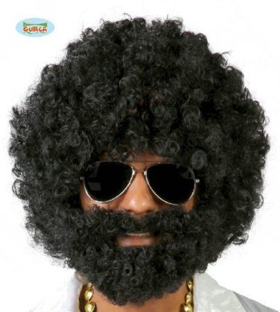 fekete, férfi afro paróka + szakál-4869