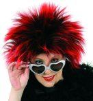 Női vörös-fekete, punk paróka (35655)
