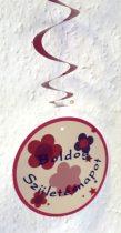 Boldog születésnapot ! spirálos függődísz (8 részes)-rózsaszín színben
