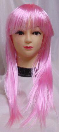 hosszú, egyenes rózsaszín paróka