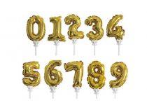 önfelfújós fólia szám lufi pálcával, arany vagy ezüst