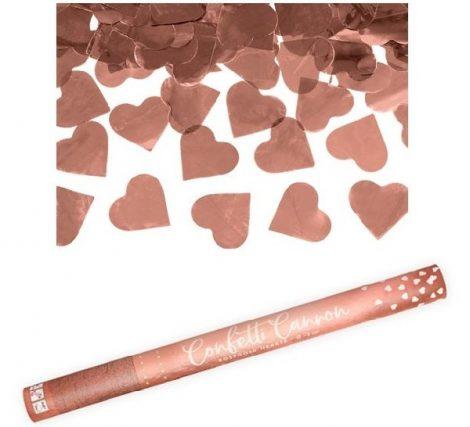 konfetti ágyú rosegold szívvel (60 cm)