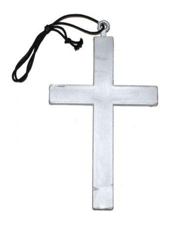 nyaklánc óriás kereszttel, ezüst (24x14 cm)