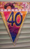 színes 40. évszámos zászlógirland (5 m)