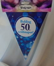 Boldog 50. születésnapot zászlógirland, kék (8 db zászló+4 m szalag)
