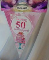 Boldog 50. születésnapot zászlógirland, rózsaszín (8 db zászló+4 m szalag)