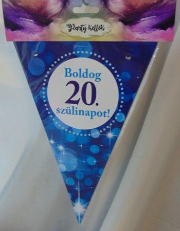 Boldog 20. születésnapot zászlógirland, kék (8 db zászló+4 m szalag)