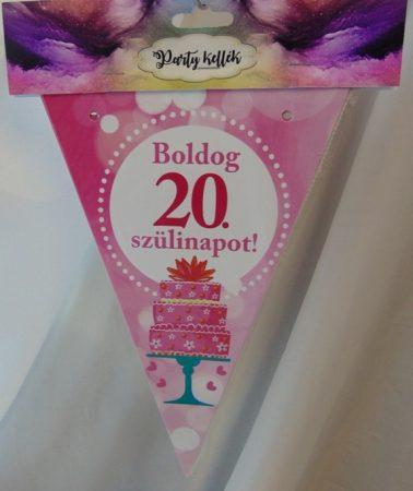 Boldog 20. születésnapot zászlógirland, rózsaszín (8 db zászló+4 m szalag)