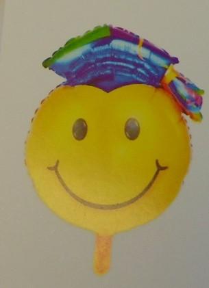 Ballagási fólia lufi, színes kalapos smiley (66 cm)-390549