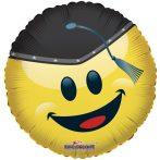 Ballagási fólia lufi kalapos smiley, 45 cm