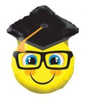 Ballagási fólia lufi kalapos, szemüveges smiley, 45 cm