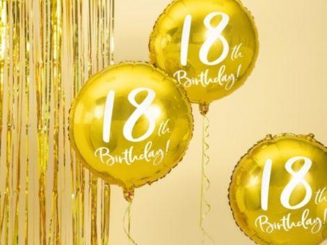18. születésnapi fólia lufi, arany (45 cm)