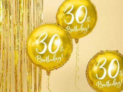 30. születésnapi fólia lufi, arany (45 cm)