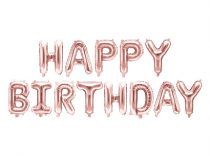Happy Birthday fólia lufi felirat, 340x35cm, rosegold