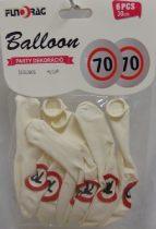 Boldog 70. születésnapot gumi lufi (30 cm-s)-6 db-210628