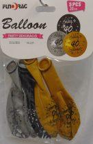 Boldog 40. születésnapot arany, ezüst, fekete (30 cm-s)-5 db-607109