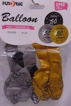 Boldog 50. születésnapot arany, ezüst, fekete (30 cm-s)-5 db-607116
