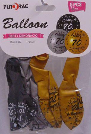 Boldog 70. születésnapot arany, ezüst, fekete (30 cm-s)-5 db-607130