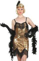 Charleston jelmez női, arany flitteres (L méret)-SL-KAZL