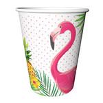 Flamingós papír pohár, 2 dl (8 db)