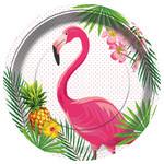 Flamingós papírtányér, 23 cm (8 db)