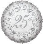 25. ezüst évszámos fólia lufi (45 cm)