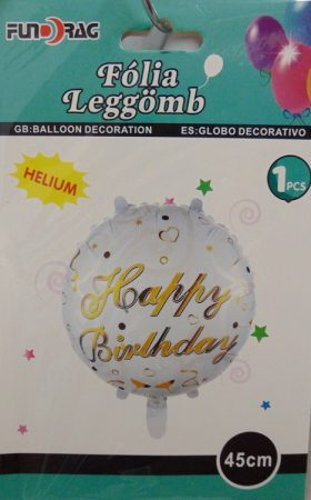 Happy Birthday, fehér-arany lufi (45 cm)-606980