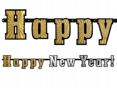 Happy New Year ! hologramos felirat (15 cm * 142 cm)