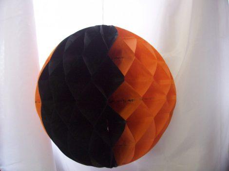 halloween papír gömb lampion 25 cm, narancs-fekete-E-64036