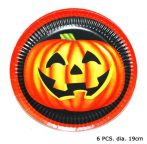 Halloween papírtányér , 6 db (19 cm)-E-64220