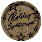 boldog születésnapot tányér arany-fekete , 23 cm-s (8 db)