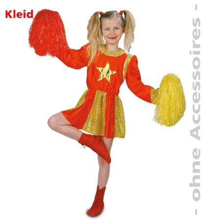 pom-pom lány jelmez piros-arany (128 és 140 méret)-2094