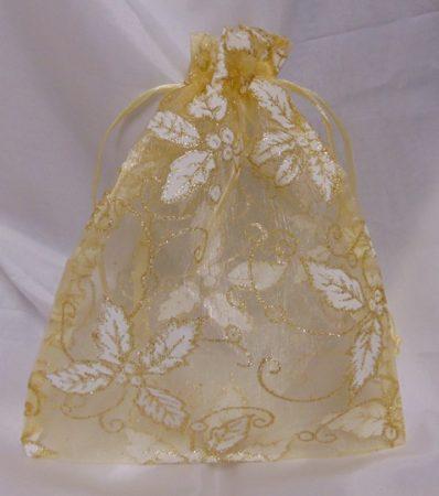 organza tasak arany, fagyöngy mintával (26x20 cm)- 24 db