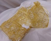 organza tasak arany, mintával (20*14 cm)- 24 db