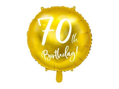 70. születésnapi fólia lufi, arany (45 cm)