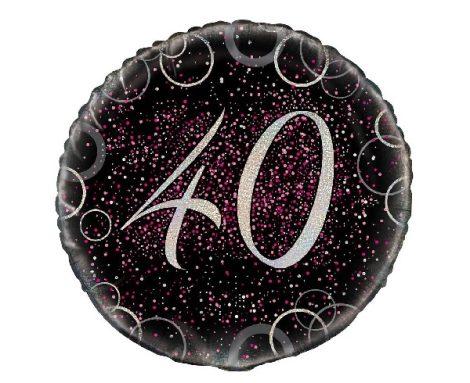 40. évszámos fólia lufi, prizmás, rózsaszín (45 cm)-55796