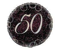 50. évszámos fólia lufi, prizmás, rózsaszín (45 cm)-55797